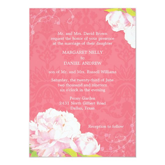 Coral Pink Peony Spring Floral Wedding Card