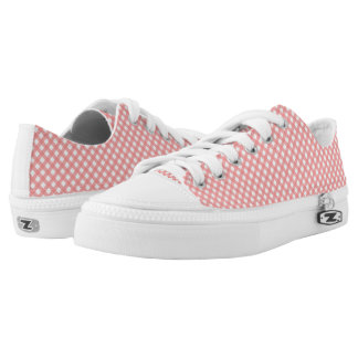 Coral Pink Plaid Pattern Zipz Shoes Printed Shoes