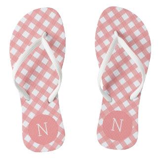 Coral Pink Plaid Print Monogrammed Flip flops