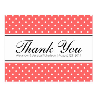 Coral pink polka dot wedding thank you postcards