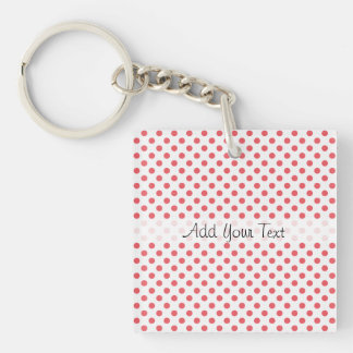 Coral Pink Polka Dots by Shirley Taylor Key Ring