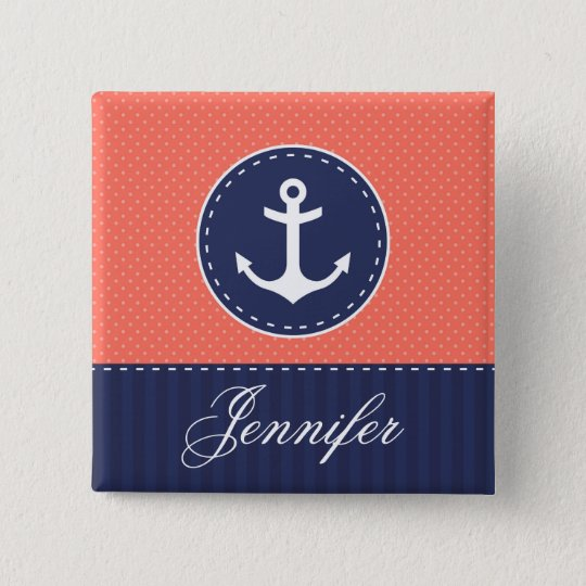 Coral Pink Polka Dots Dark Blue Anchor With Name 15 Cm Square Badge