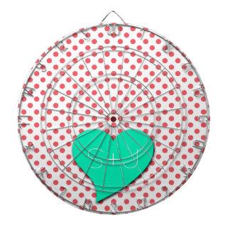 Coral Pink Polka Dots-Monogram Dartboards