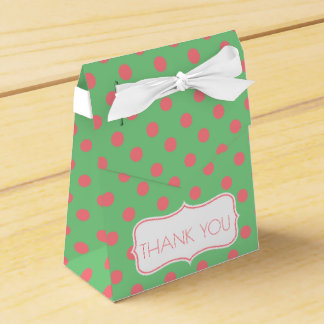 Coral Pink Polka Dots on Sea Green Personalized Favour Box