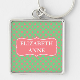 Coral Pink Polka Dots on Sea Green Personalized Silver-Colored Square Key Ring