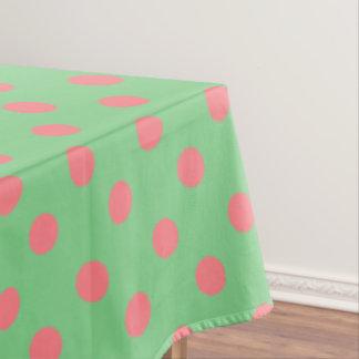 Coral Pink Polka Dots on Sea Green Tablecloth