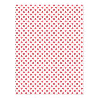 Coral Pink Polka Dots Postcard