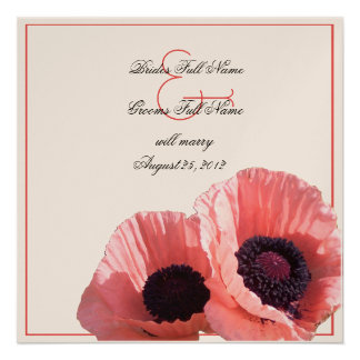 Coral Pink Poppies Personalized Announcement