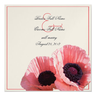 Coral Pink Poppies 5.25x5.25 Square Paper Invitation Card