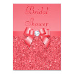 Coral Pink Printed Sequins & Diamond Bridal Shower Invitation