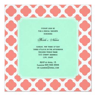 Coral Pink Quatrefoil and Mint Green Bridal Shower 13 Cm X 13 Cm Square Invitation Card