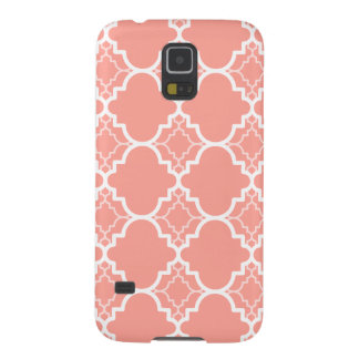 Coral Pink Quatrefoil Geometric Pattern Galaxy S5 Cover