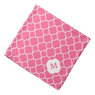 Coral Pink Quatrefoil Monogram Bandanas