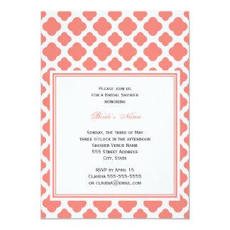 Coral Pink Quatrefoil Pattern Bridal Shower Card
