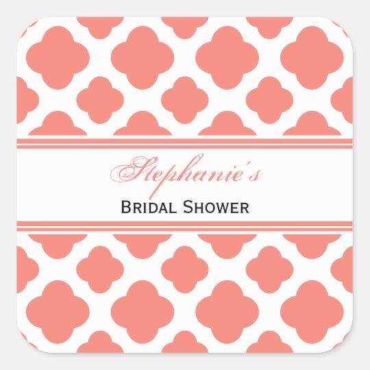 Coral Pink Quatrefoil Pattern Bridal Shower Square Sticker