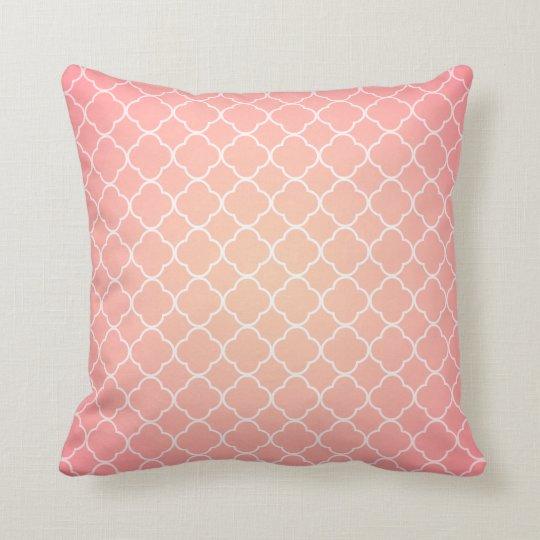 Coral Pink Quatrefoil Pattern Cushion
