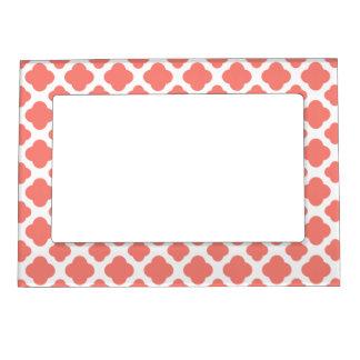 Coral Pink Quatrefoil Pattern Photo Frame Magnet