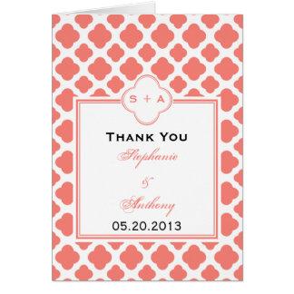 Coral Pink Quatrefoil Pattern Wedding Thank You Card