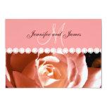 Coral Pink Rose Diamonds Print Wedding Invitation 13 Cm X 18 Cm Invitation Card
