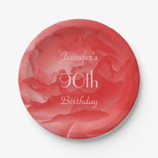Coral Pink Rose Paper Plates, 90th Birthday Paper Plate