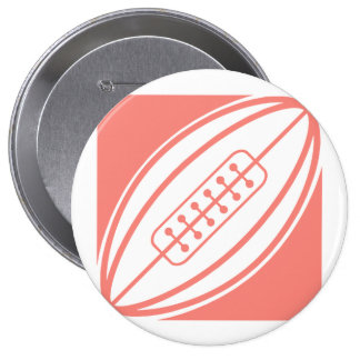 Coral Pink Rugby Pinback Buttons