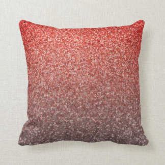 Coral Pink Silver | Faux Glitter Ombre Sparkles Cushion