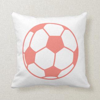 Coral Pink Soccer ball Cushion