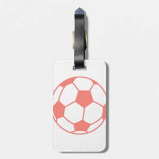 Coral Pink Soccer ball Luggage Tag