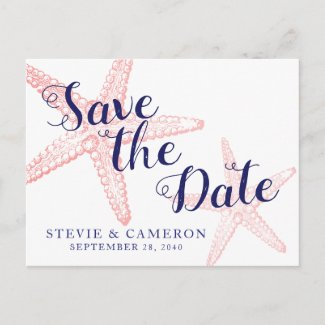 Coral Pink Starfish Beach Wedding Save Date Announcement Postcard