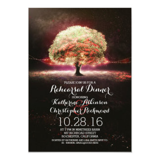 coral pink string lights tree rehearsal dinner card