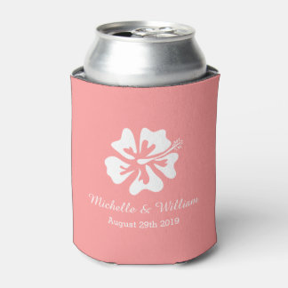 Coral pink summer flower wedding can cooler