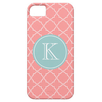 Coral pink trellis lattice pattern iPhone 5 cover