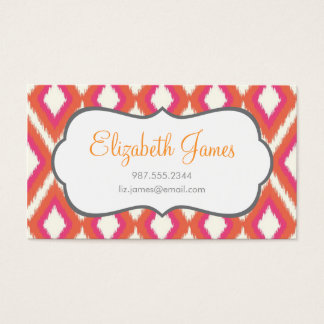 Coral & Pink Tribal Ikat Chevron Business Card