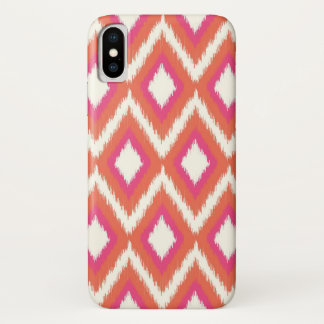 Coral & Pink Tribal Ikat Chevron iPhone X Case