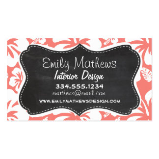 Coral Pink Tropical Hibiscus Chalkboard look Business Card Template