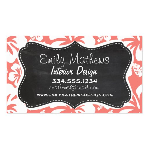 Coral Pink Tropical Hibiscus; Chalkboard look Business Card Template