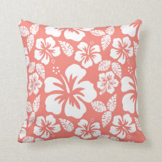 Coral Pink Tropical Hibiscus Cushion