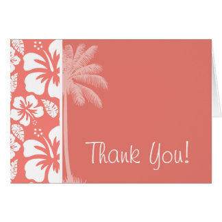 Coral Pink Tropical Hibiscus; Summer Palm Card