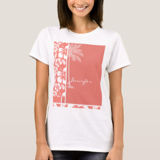 Coral Pink Tropical Hibiscus; Summer Palm T-Shirt