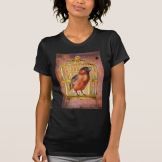 Coral Pink Victorian Bird Gilded Cage T Shirt