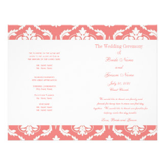 Coral Pink Vintage Damask Wedding Program Full Color Flyer