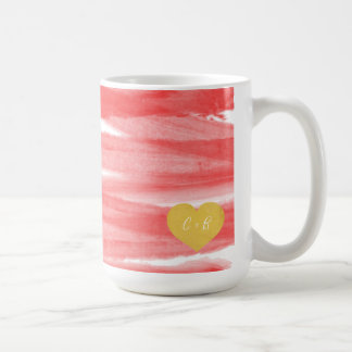 Coral Pink Watercolor Couple's Coffee Mug