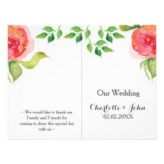 coral pink watercolor floral wedding program 21.5 cm x 28 cm flyer