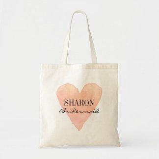 Coral pink watercolor heart bridesmaid tote bags