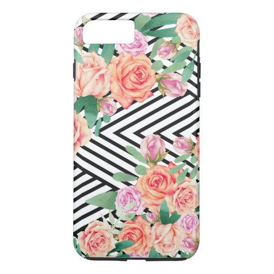 Coral pink watercolor roses black white stripes iPhone 7 plus case
