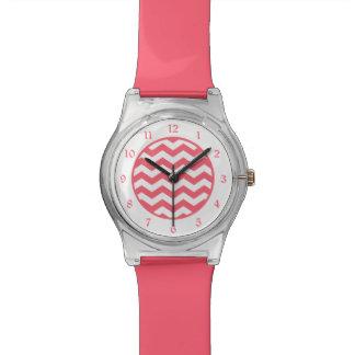 Coral Pink White Chevron Watch