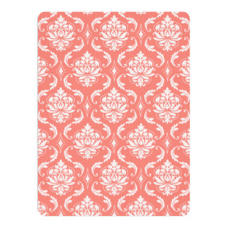 Coral Pink White Classic Damask Pattern 17 Cm X 22 Cm Invitation Card