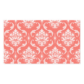 Coral Pink White Classic Damask Pattern Business Cards