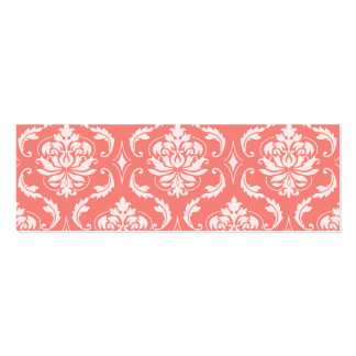 Coral Pink White Classic Damask Pattern Business Card