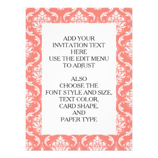 Coral Pink White Classic Damask Pattern Invitations